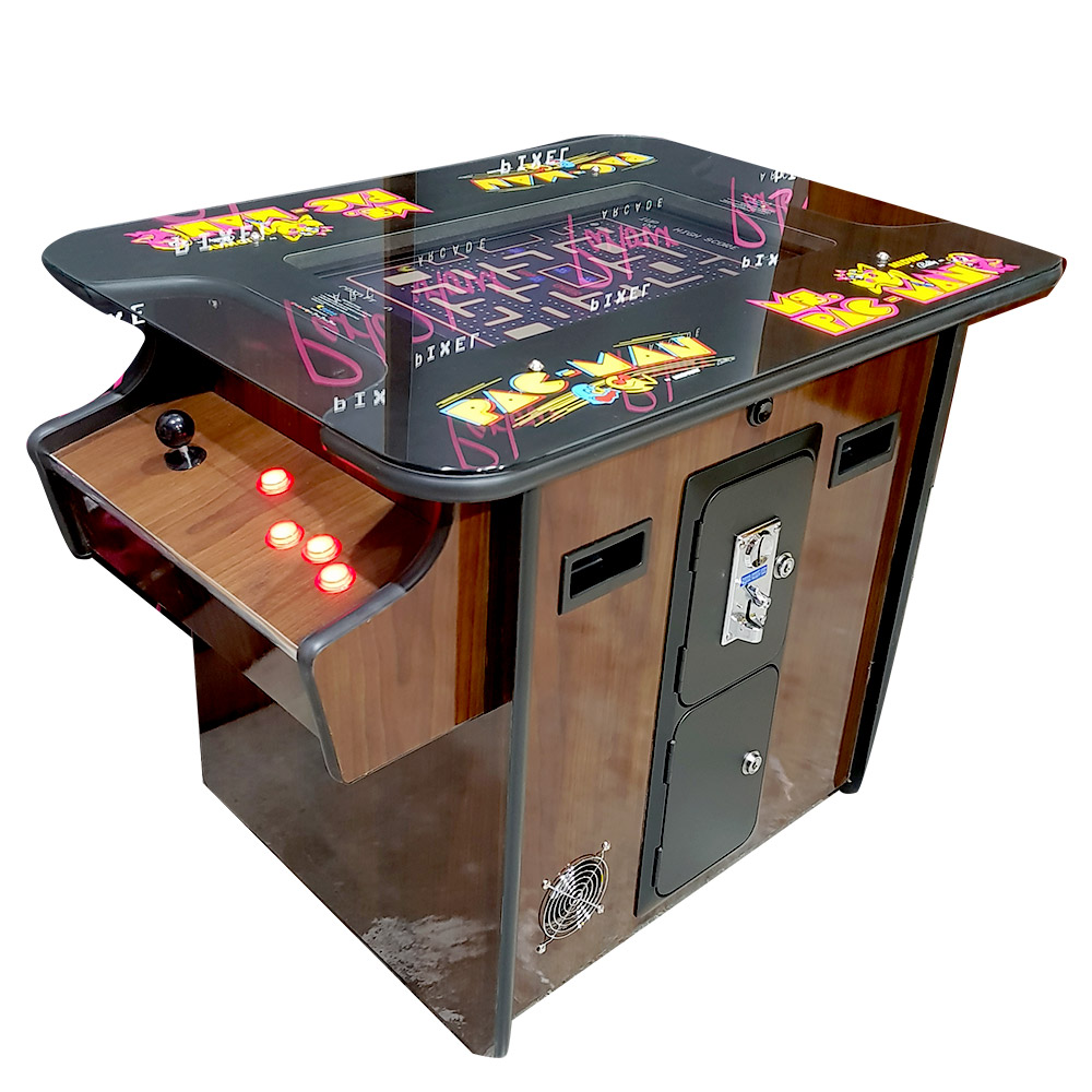 Pacman Table Game >> Woodgrain Pac Man Miss Pacman Table Top Cocktail Arcade
