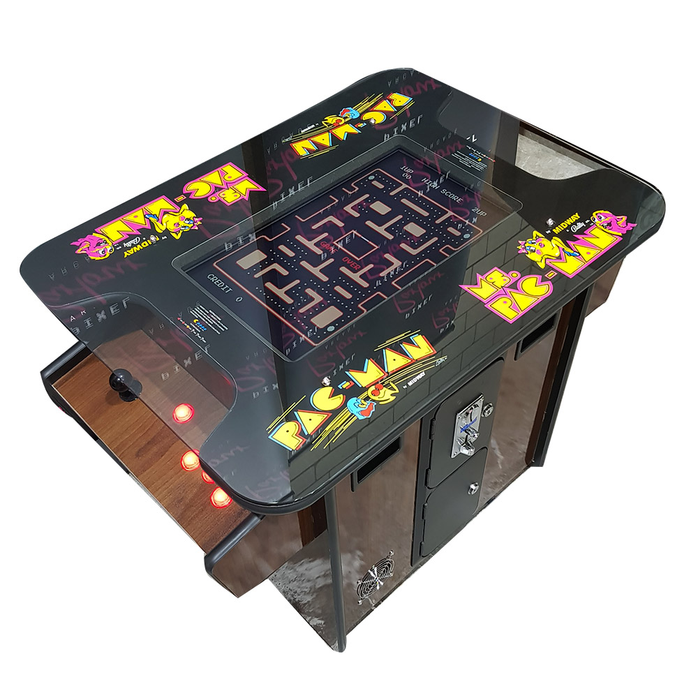Pacman Table Game >> Woodgrain Pac Man Miss Pacman Table Top Cocktail Arcade Pixel